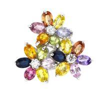 10.19ct.tw Multi Color Sapphire Flower Ring 18K