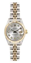 Watch Pre Owned Rolex Oyster Perpetual Datejust Dia Dial Serial: D587956 18K Stainless Steel With Original Rolex Certification Papers