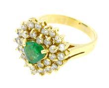 1.00ct. Center Heart Shape Emerald Ring 18K