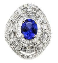1.73ct.tw. Cente Oval Shape Tanzanite Ring 18K