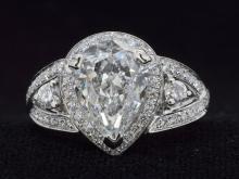 3.01ct. Center Pear Shaped Diamond Ring 18K-EGL SI1-D