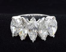 5.04ct.tw Natural Marquise Shape Diamond Ring With EGL Report on all Diamonds 18K