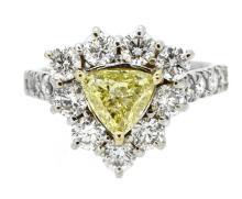 1.01ct. Center Fancy Yellow Diamond Ring 18K-GIA