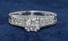 1.01ct. Center Round Diamond Ring 18K-EGL SI2-E