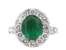 2.43ct. Center Emerald Diamond Ring 18K