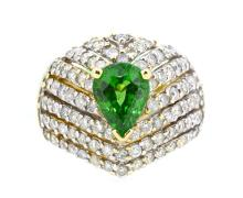 2.30ct. Center Tsavorite Ring 14K