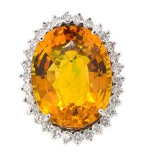 31.06ct. Center Citrine Ring 14K
