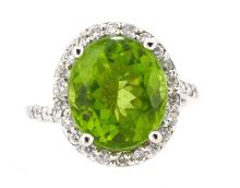 6.05ct. Center Peridot Ring 14K