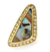 14.14ct. Australian Opal Ring & 1.23ct.tw on Diamonds 14K