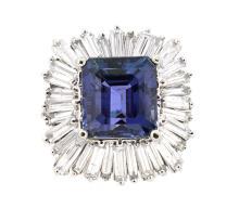 6.14ct. Center Tanzanite Ring & 1.90ct.tw on Diamonds 18K