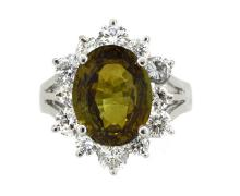 6.86ct. Center Alexandrite Ring & 1.69ct.tw on Diamonds 18K With GIA Report
