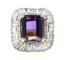 11.08ct. Center Ametrine Ring With 3.03ct.tw on Diamonds 14K