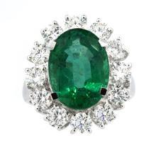 6.19ct. Center Emerald Ring 18K