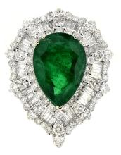 10.85ct. Center Pear Shape  Emerald Ring with GIA Report 18K