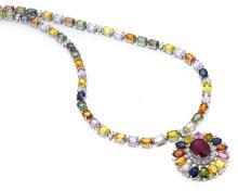 44.79ct.tw Multi Color Sapphire Necklace 18K
