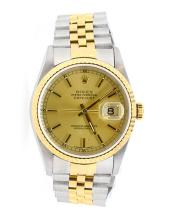 Watch Pre Owned Rolex Datejust Men's - Gold Dial 18K Yellow Gold & Stainless Steel, Original Rolex Officially Certified