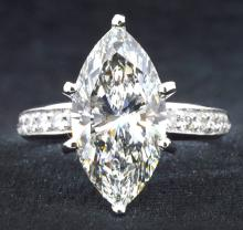 5.01ct. Solitaire Marquise Diamond Clarity VVS-1 Color E. Ring 18K With EGL Report