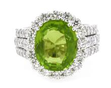 6.97ct. Center Peridot Ring 18K