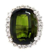 34.94ct. Center Cushion Green Tourmaline 18K-GIA