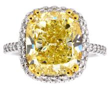 8.02ct. Center Solitaire Cushion Fancy Yellow Diamond Ring, Clarity VS-1 With EGL Report 18K