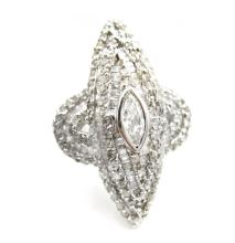 1.63ct.tw. Round, Baguette and Marquise Diamond Ring 18K