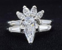 1.00ct. Solitaire Pear Shape Diamond Ring Platinum -EGL