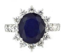 6.36ct. Center Oval Blue Sapphire Ring 18K