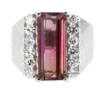 4.90ct. Rectangular Pink Tourmaline Ring 14K