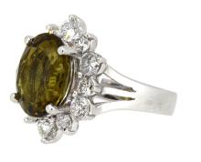 6.86ct. Center Oval Alexandrite Ring with GIA Report 18K