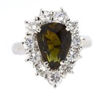 4.33ct. Center Pear Alexandrite Ring with GIA Report 18K