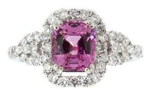 1.71ct. Center Unheated  Purplish Pink Spinel Ring with GIA Report 18K