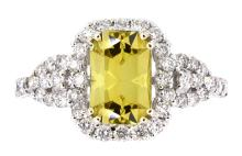 1.85ct. Center Octagonal Chrysoberyl Ring with GIA Report 18K