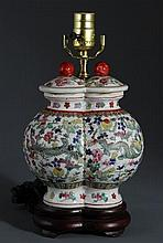 A FAMILLE ROSE DOUBLE BODY PORCELAIN LAMP BASE