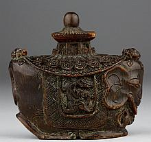 A HORN CARVED SNUFF BOTTLE