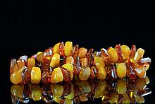 A BEESWAX AND AMBER NECKLACE