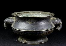 A QING PERIOD YONG CUN ZHEN WAN MARK DOUBLE EAR BRONZE INCENSE BURNER