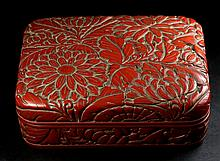 A QING PERIOD CINNABAR RED 'CHRYSANTHEMUM' LACQUERED SQUARE BOX