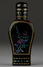 A EMBELLISHED BLACK LACQUER FLOWERS SNUFF BOTTLE