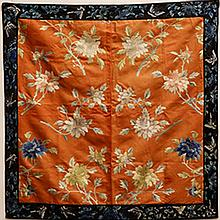 A CHINESE EMBROIDERED SILK SQUARE COVER