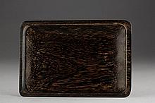 AN AGARWOOD CARVING OF A RECTANGLE PLATE