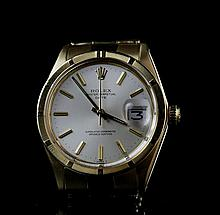 A 18ct gold 'Oyster Perpetual Date' wristwatch, by Rolex