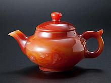 A AGATE TEAPOT AND COVER