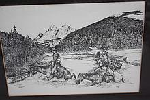 Don Gill Print, Cowboys with mules-1990, 364/1400