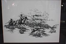 Don Gill Print, Cowboys & Steer, 1991, 364/1600