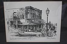 Framed Drawing of Red Bank Winery, Folsum California, Signed George Mathis
