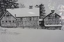 1983 Pencil Art by Robert Doney, New England Barn, well known Pennsylvania Artist