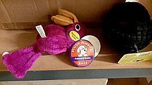 Plush dog toys and rubber dog toys.