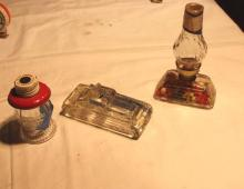 Glass Candy container - oil lamp, USA tank, lantern