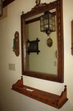 Mirror, Shelf, 2 Candle Holders