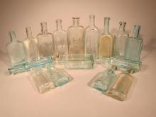 16 Antique Glass Medicine Bottles.
